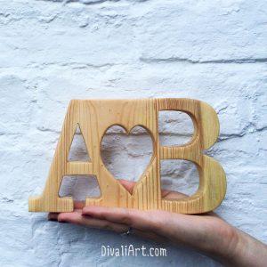 Персонализиран подарък за сватба от дърво дивали арт