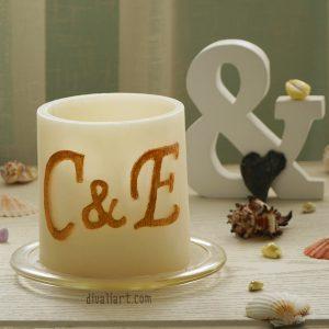 Уникален подарък за сватба, фенер с инициали на младоженците