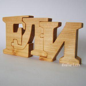 дървено име пъзел Ели