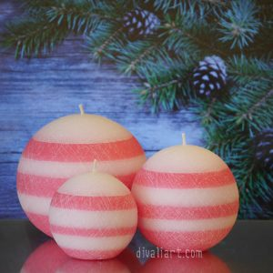 """Сет Коледни свещ """"Захарен Памук"""""""