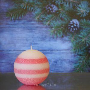 """Коледна свещ """"Захарен Памук"""""""