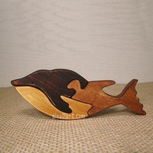 Дървен пъзел с форам на син кит от Дивали Арт