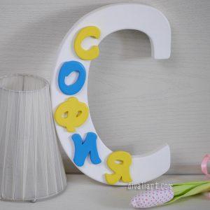 Цветна Буква Име от дърво за детска стая