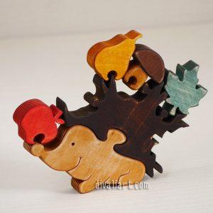 Дървен пъзел Таралеж